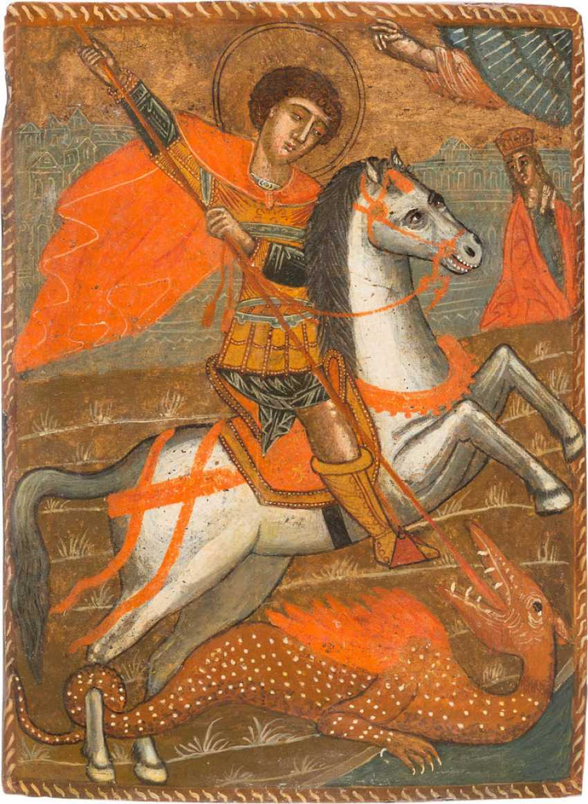 A BIG ICON WITH THE SAINT GEORGE THE DRAGON SLAYER - photo 1
