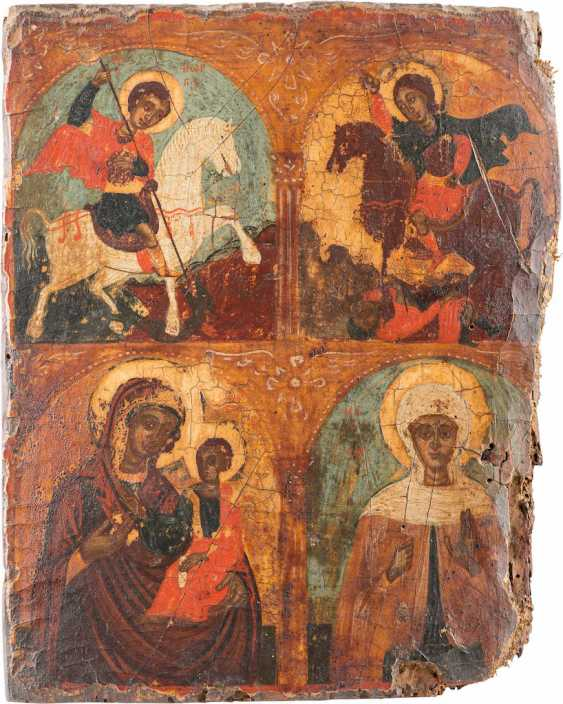FOUR FIELDS ICON WITH THE TAB OF THE SAINTS, THE MOTHER OF GOD AND OF THE HOLY PARASKEVA - photo 1