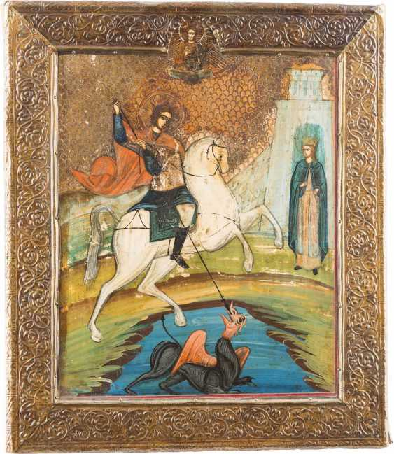 ICON WITH THE SAINT GEORGE THE DRAGON SLAYER WITH BASMA - photo 1