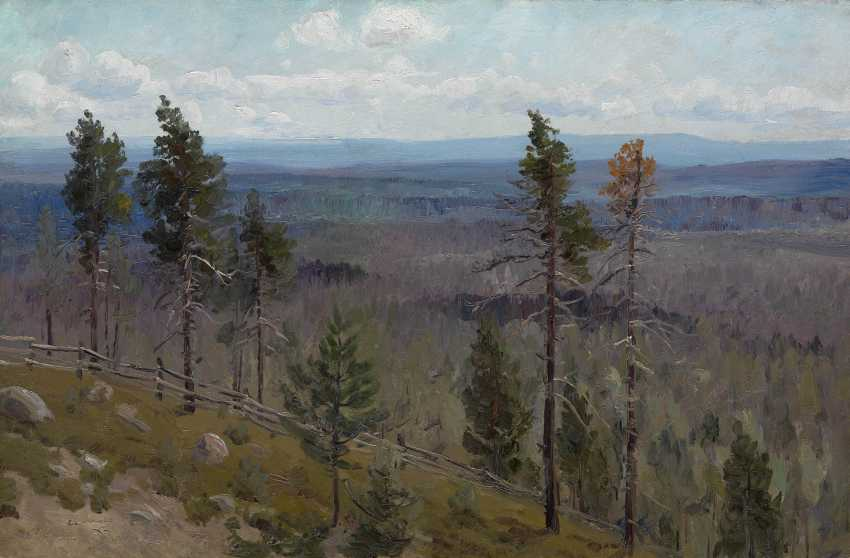 "DENISOV-URALSKY, ALEKSEI (1863-1926) Hills and Woods , signed, titled in Cyrillic and dated ""1909/3/VII"". - photo 1"
