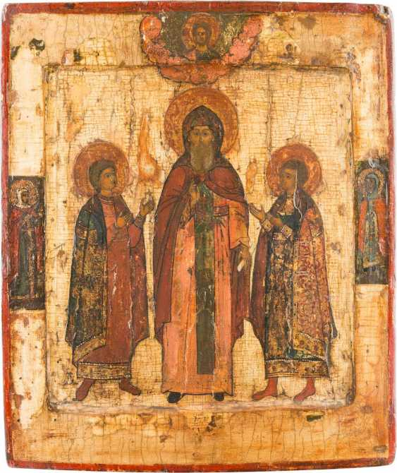 ICON WITH THE SAINT FEODOR OF YAROSLAVL AND HIS SONS CONSTANTINE AND DAVID - photo 1