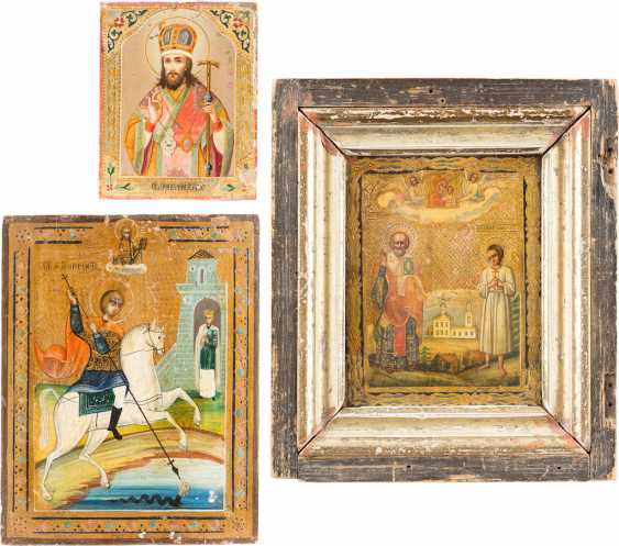 THREE SMALL ICONS WITH THE HOLY DIMITRI OF ROSTOV, ST. GEORGE, AND NICHOLAS AND ARTEMIJ - photo 1