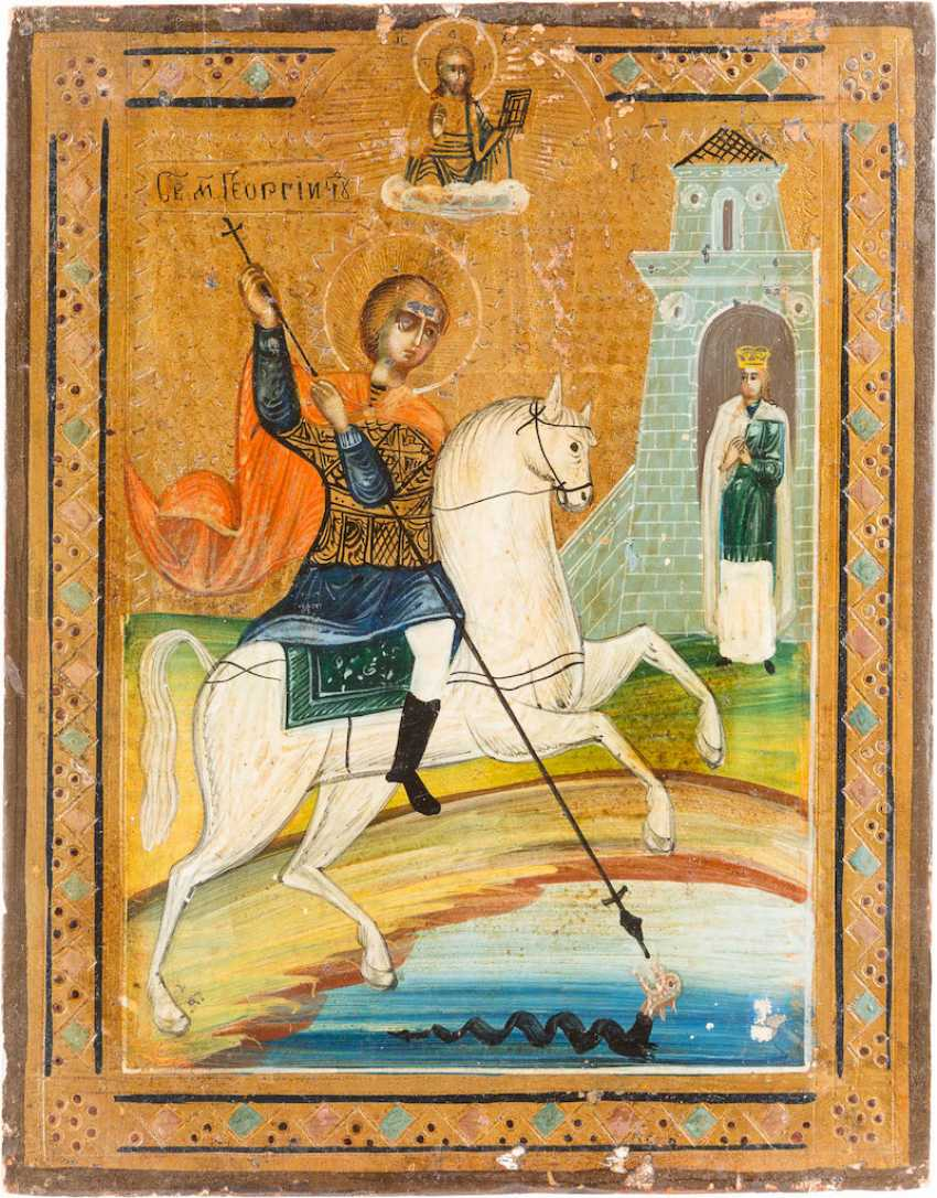 THREE SMALL ICONS WITH THE HOLY DIMITRI OF ROSTOV, ST. GEORGE, AND NICHOLAS AND ARTEMIJ - photo 2