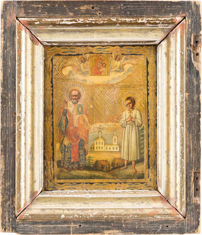 THREE SMALL ICONS WITH THE HOLY DIMITRI OF ROSTOV, ST. GEORGE, AND NICHOLAS AND ARTEMIJ - photo 4