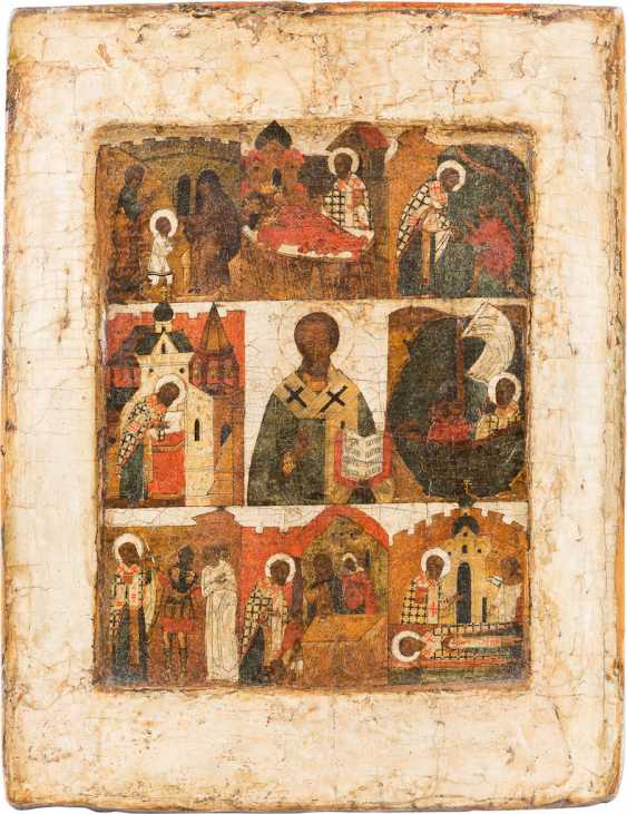 ICON WITH ST. NICHOLAS OF MYRA WITH SCENES FROM HIS VITA - photo 1