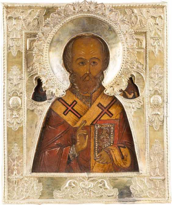 ICON WITH ST. NICHOLAS OF MYRA WITH VERMEIL-RIZA - photo 1