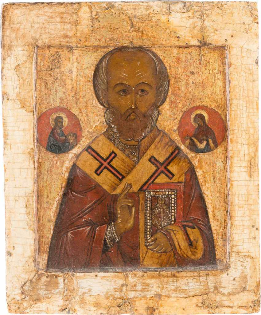 ICON WITH ST. NICHOLAS OF MYRA WITH VERMEIL-RIZA - photo 2