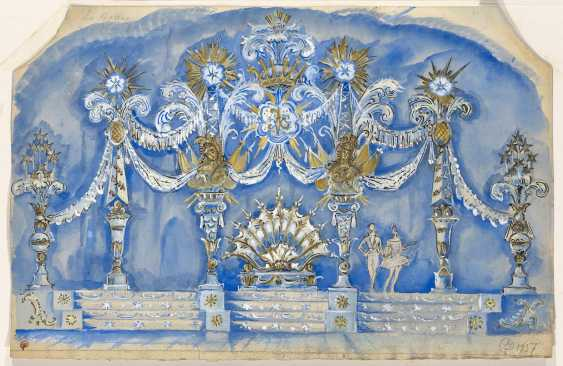 """DOBUZHINSKY, MSTISLAV (1875-1957) Set Design for P. Tchaikovskys Ballet """"The Sleeping Beauty"""" , signed and stamped with a monogram, titled and dated 1937, further variously inscribed on the reverse. - photo 1"""