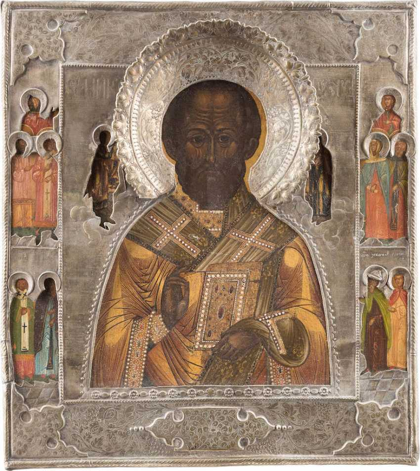 A LARGE ICON WITH ST. NICHOLAS OF MYRA WITH RIZA - photo 1