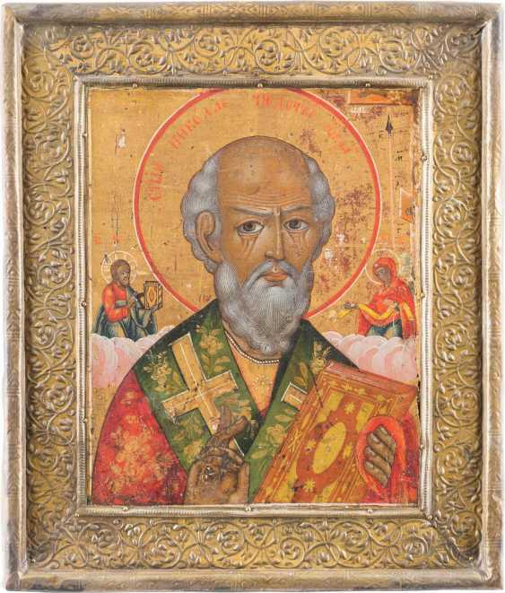 A SMALL ICON WITH ST. NICHOLAS OF MYRA WITH BASMA - photo 1