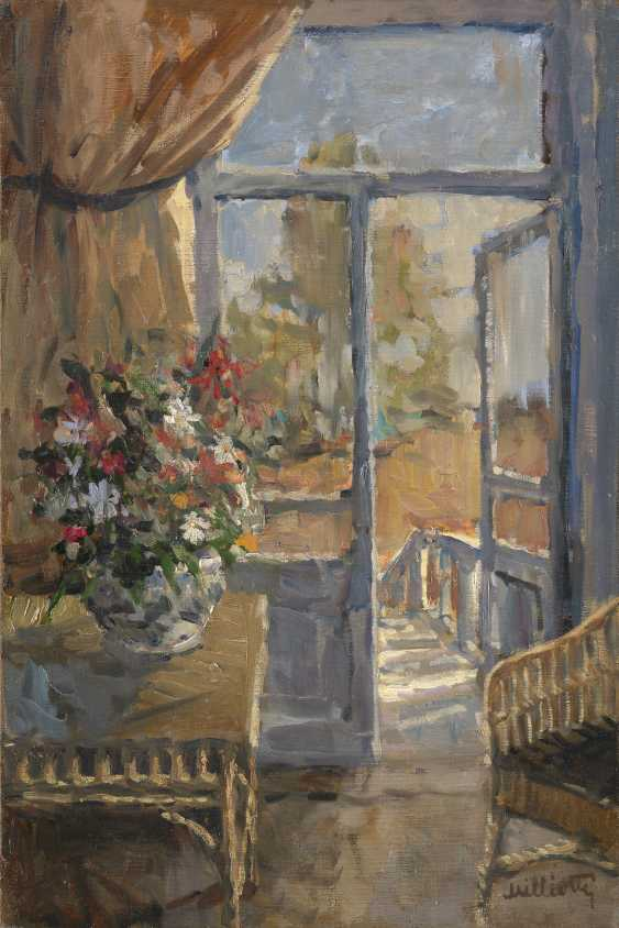 MILIOTI, NIKOLAI (1874-1962) Interior with a Bouquet of Flowers , signed. - photo 1