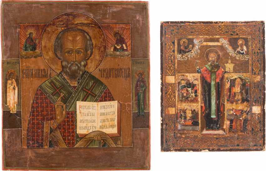 TWO ICONS: SAINT NICHOLAS OF MYRA AND A SMALL ICON WITH ST. NICHOLAS OF MOZHAISK, WITH SCENES FROM HIS VITA - photo 1