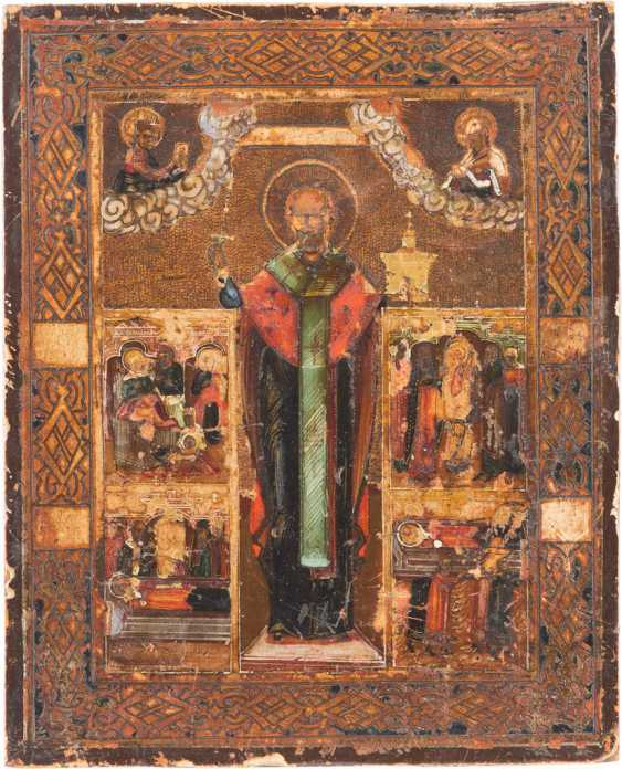 TWO ICONS: SAINT NICHOLAS OF MYRA AND A SMALL ICON WITH ST. NICHOLAS OF MOZHAISK, WITH SCENES FROM HIS VITA - photo 2