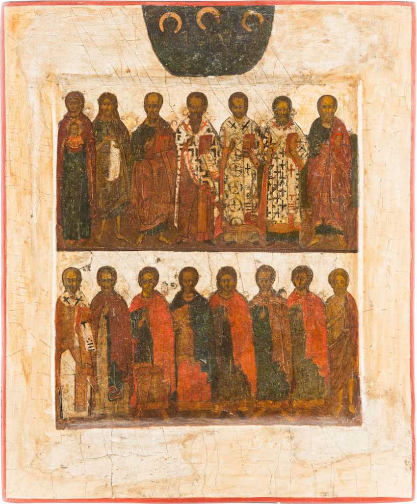 TWO FIELDS-ICON OF THE MOTHER OF GOD, JOHN THE BAPTIST, AND SELECTED SAINTS - photo 1