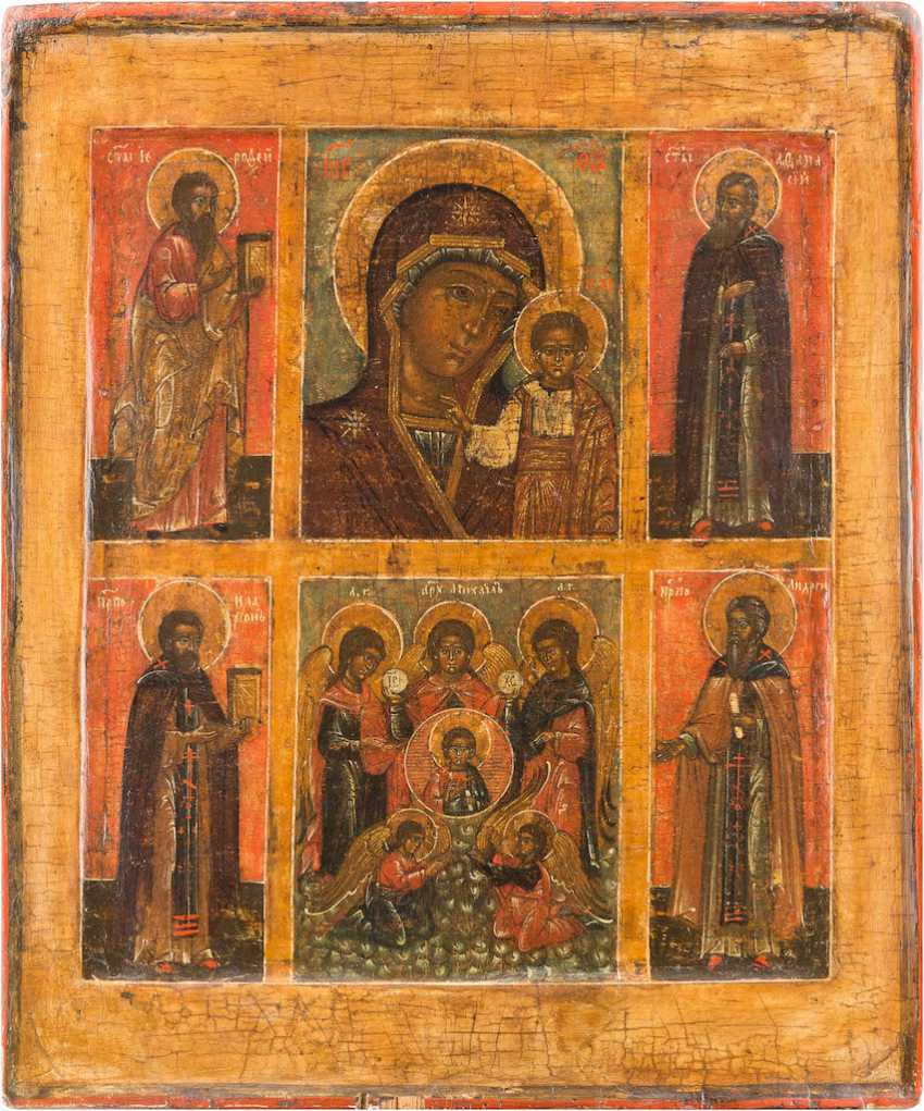 MORE FIELDS-ICON OF THE MOTHER OF GOD OF KAZAN, OF THE SYNAXIS OF THE ARCHANGEL MICHAEL AND SELECTED SAINTS - photo 1