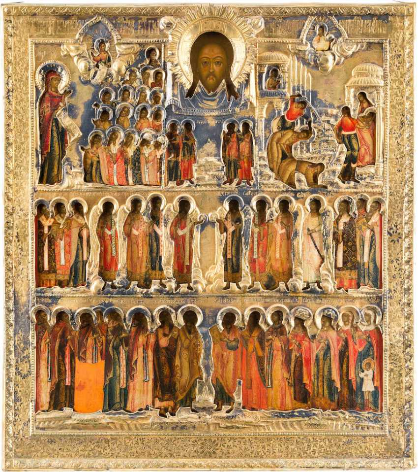 VERY FINE AND LARGE-SIZED ICON OF THE MOTHER OF GOD BOGOLUBSKAJA, THE BEHEADING OF JOHN THE BAPTIST AND SELECTED SAINTS WITH VERMEIL-RIZA - photo 1