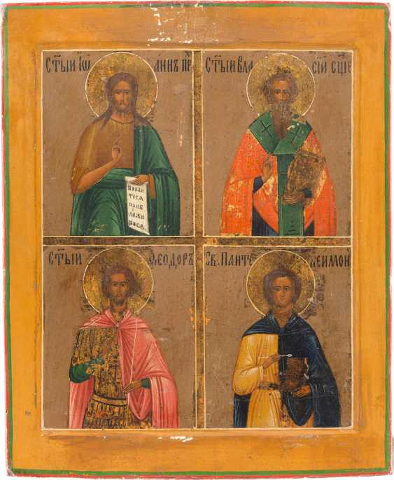FOUR FIELDS ICON WITH JOHN THE BAPTIST AND ST. BLAISE, THEODOR, AND PANTELEIMON - photo 1