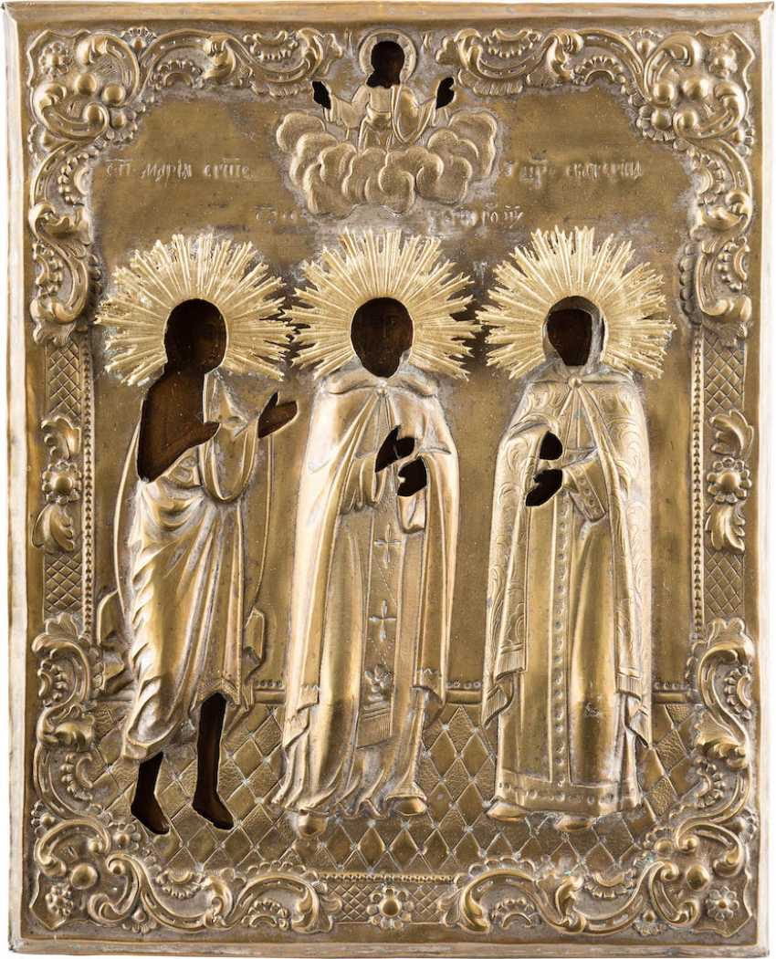 ICON OF THE HOLY MARY OF EGYPT, SERGEI OF RADONEZH, AND CATHERINE WITH OKLAD - photo 1