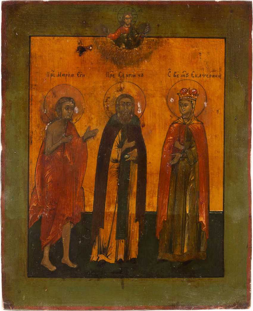 ICON OF THE HOLY MARY OF EGYPT, SERGEI OF RADONEZH, AND CATHERINE WITH OKLAD - photo 2