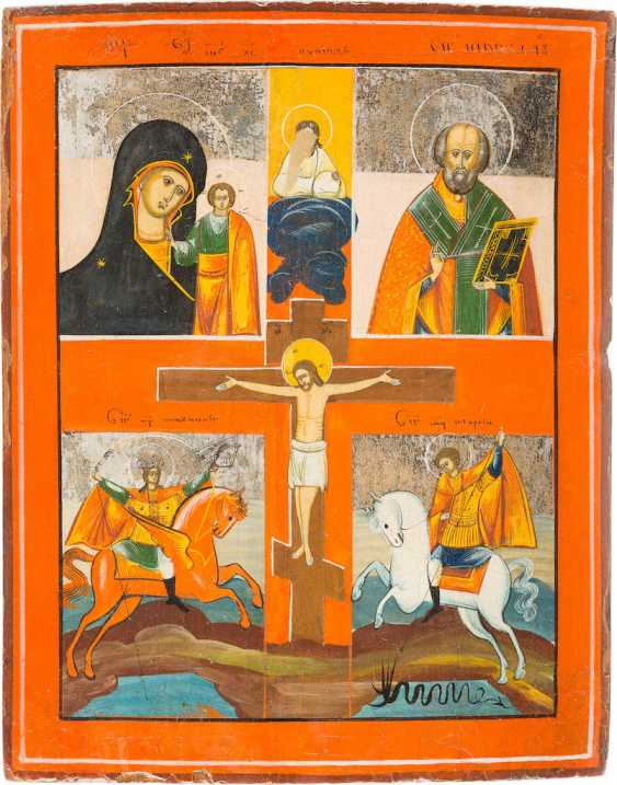 FOUR FIELDS ICON WITH THE MOTHER OF GOD OF KAZAN, ST. NICHOLAS OF MYRA, ARCHANGEL MICHAEL AND ST. GEORGE - photo 1