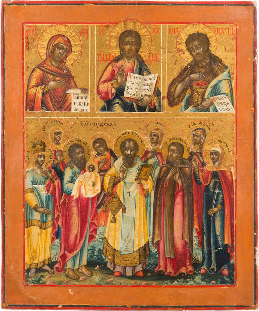 ICON WITH DEESIS AND A PATRON-SAINT - photo 1