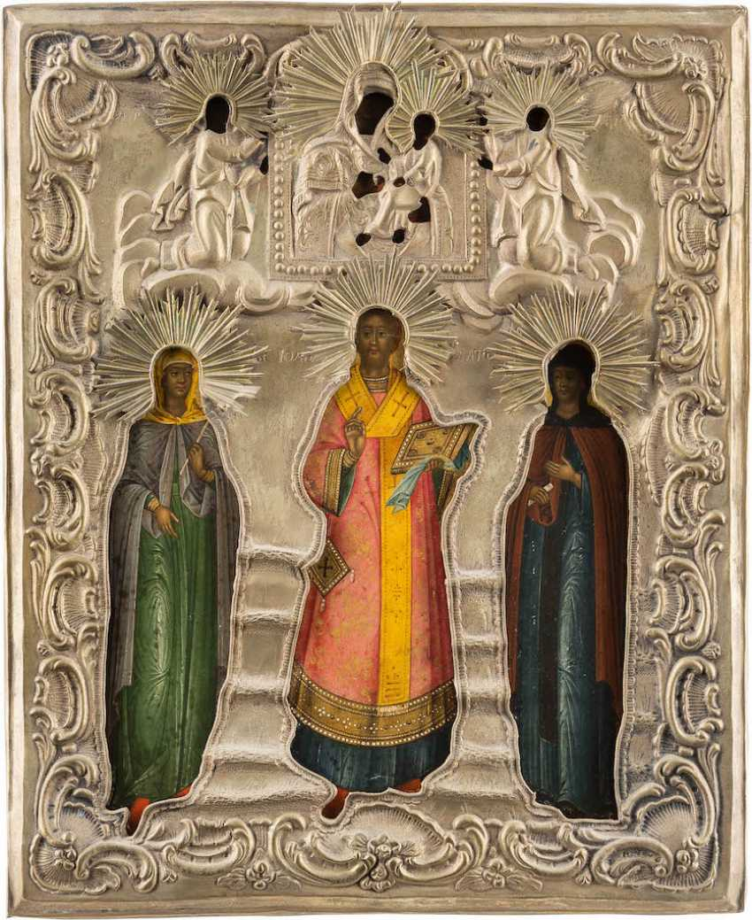 ICON OF THE HOLY MATRONA, JOHN CHRYSOSTOM, AND THEODOSIA WITH OKLAD - photo 1