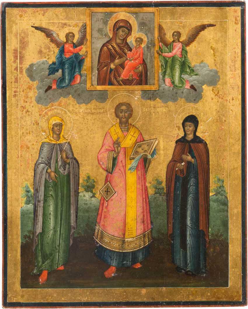ICON OF THE HOLY MATRONA, JOHN CHRYSOSTOM, AND THEODOSIA WITH OKLAD - photo 2