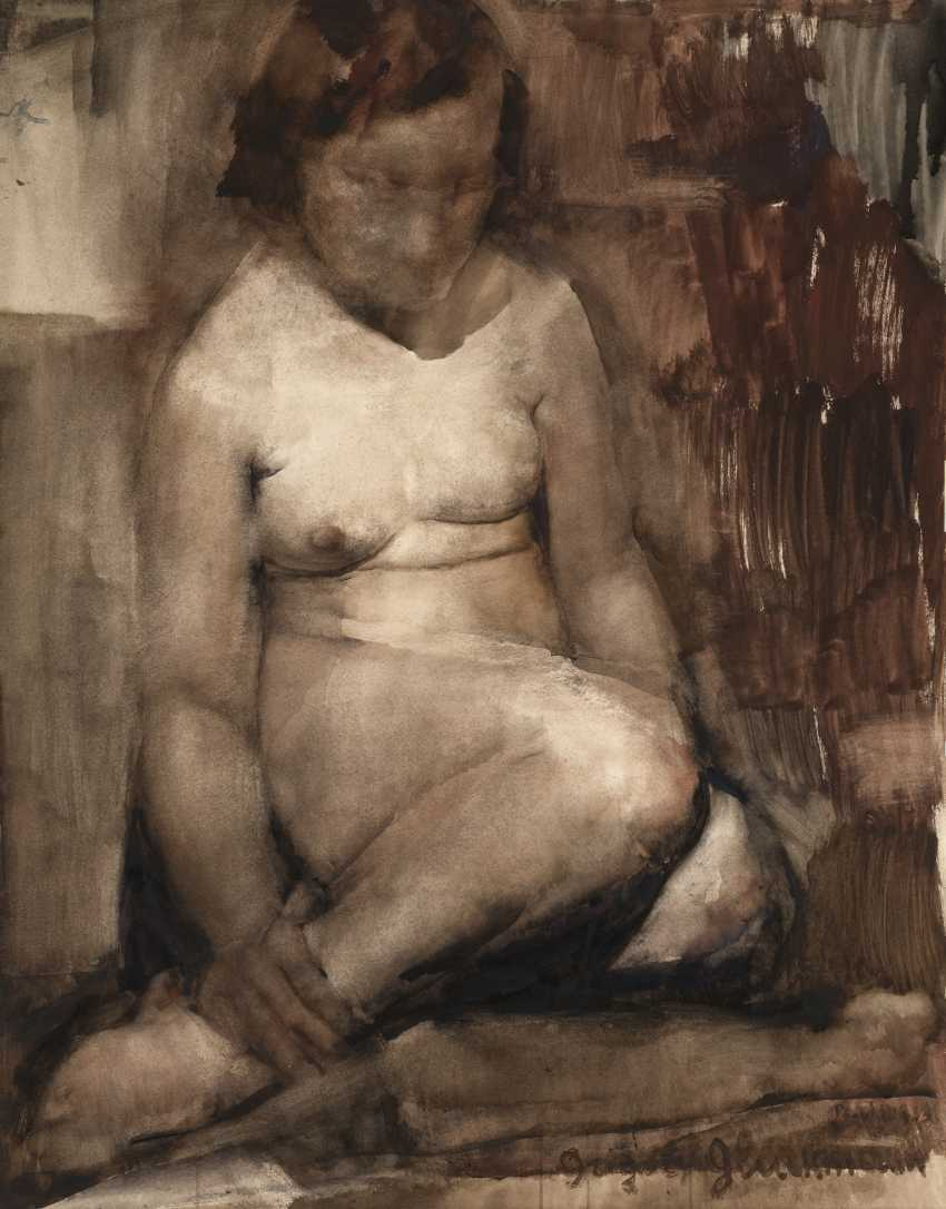 """GLUCKMANN, GRIGORY (1898-1973) Nude , signed, inscribed """"Paris"""" and dated 1933. - photo 1"""