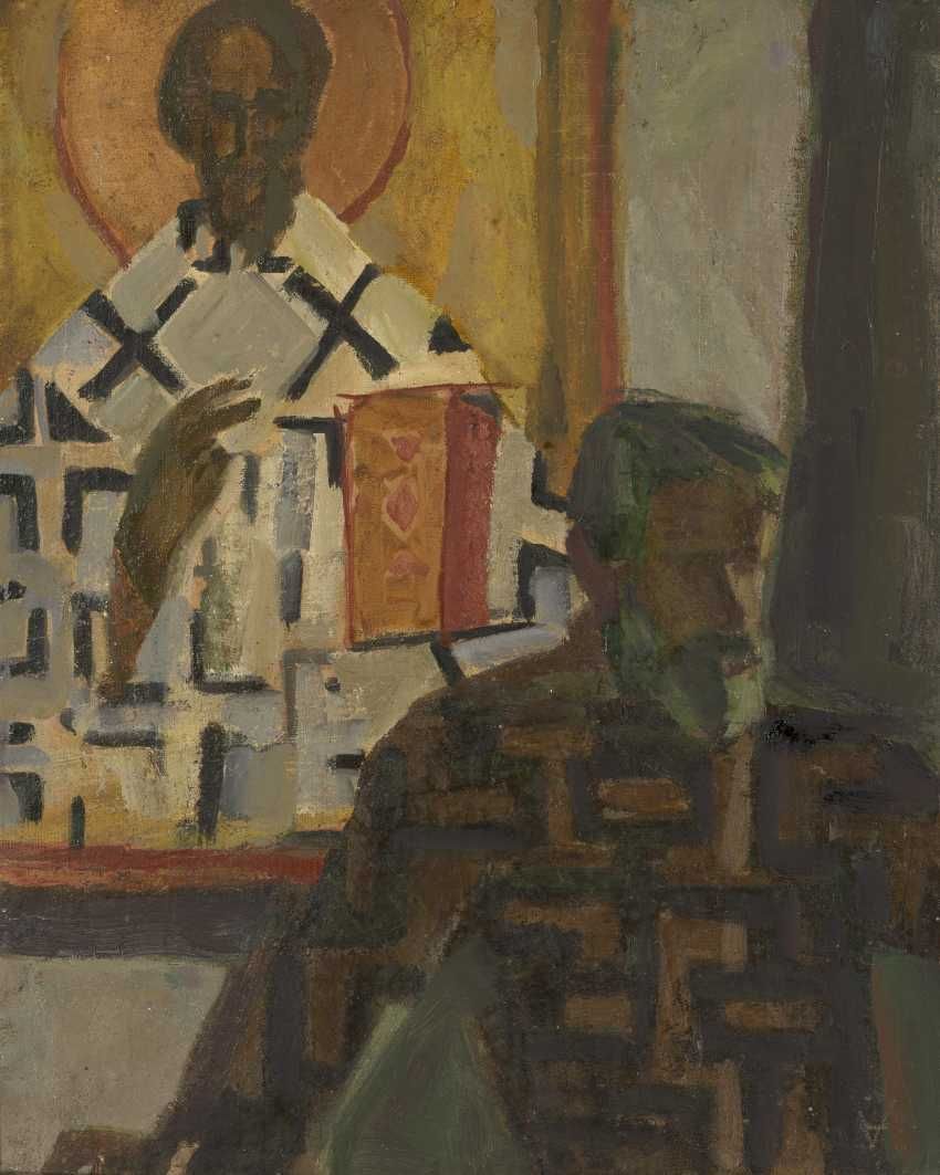 ANDRONOV, NIKOLAI (1929-1998) Self-Portrait in a Museum , signed with a monogram, also further signed, titled in Cyrillic and dated 1991 on the reverse. - photo 1