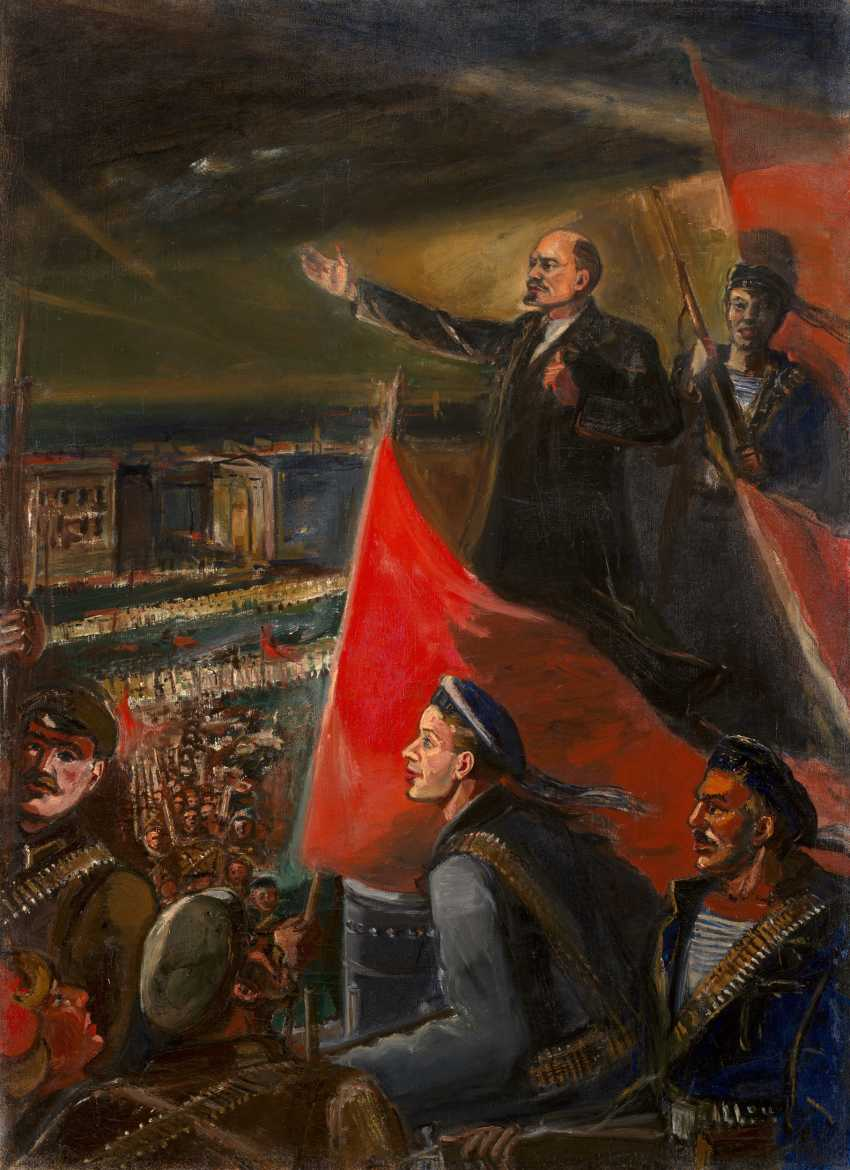 "LABAS, ALEXANDER (1900-1983) Lenin in October, from the series ""October"" , signed, titled in Cyrillic and dated 1953 on the reverse. - photo 1"