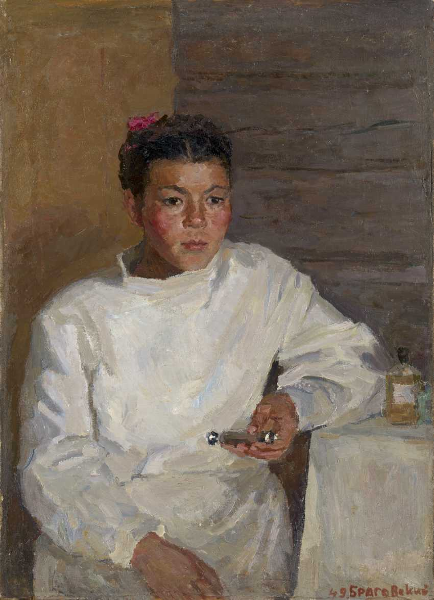 """BRAGOVSKY, EDUARD (1923-2010) Portrait of a Nurse. Altai Mountains , signed and dated 1949, also further signed, inscribed in Cyrillic """"(Gornyi Altai)"""", titled and dated on the reverse. - photo 1"""