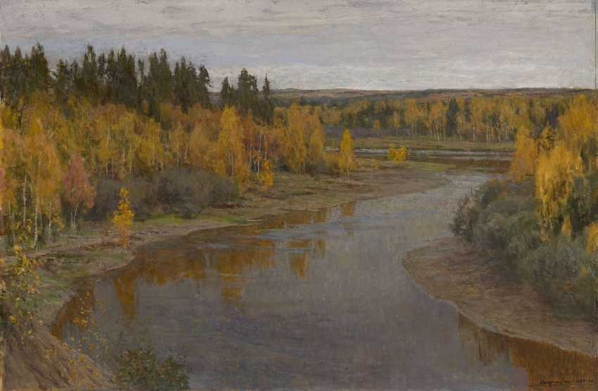 GRITSAI, ALEXEI (1914-1998) Golden Autumn. Forest River , signed and dated 1985–1986, also further signed, titled in Cyrillic and dated 1984–1991 on the stretcher. - photo 1