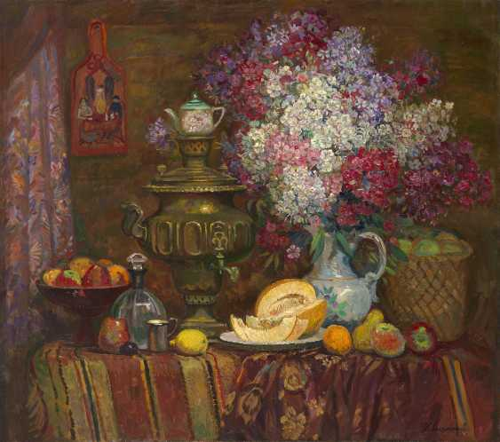 SOLDATENKOV, IGOR (1934-2009) Still Life with Samovar, Melon and Flowers , signed, also further signed, titled in Cyrillic and dated 1995 on the reverse. - photo 1
