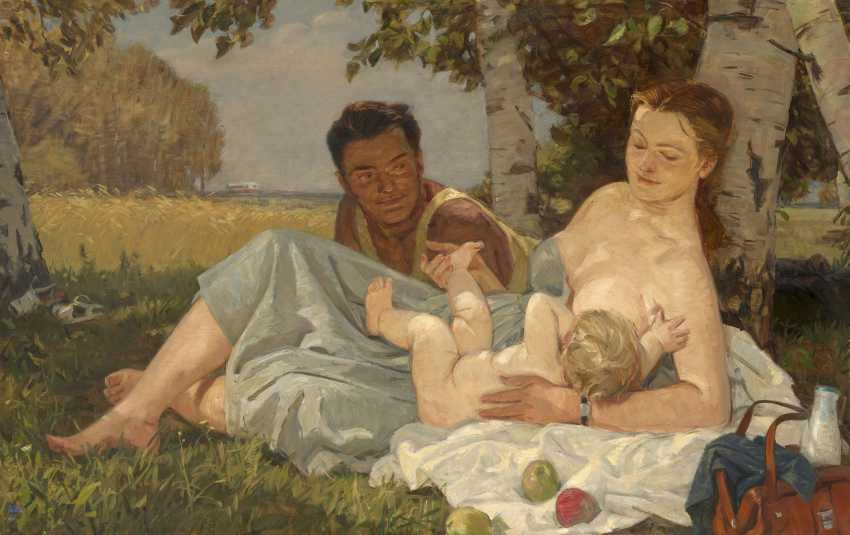 SHMARINOV, DEMENTY (1907-1999) A Family , signed with initials and dated 1957, also further signed, titled in Cyrillic and dated on the reverse. - photo 1