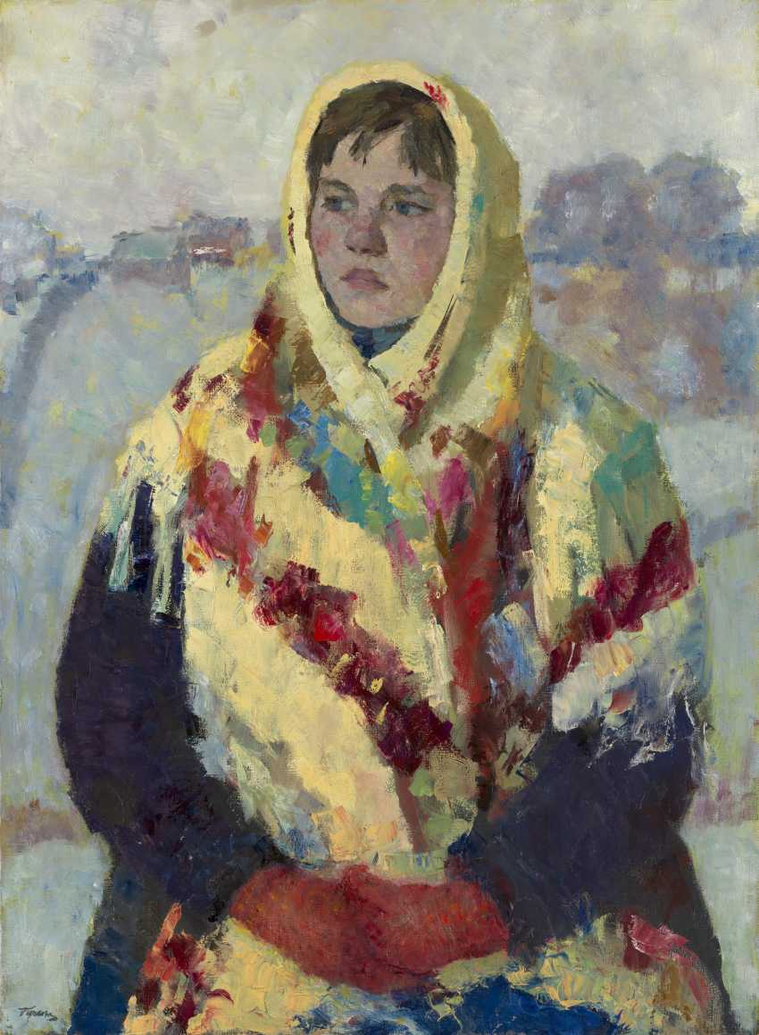 TSEITLIN, GRIGORY (1911-2000) Girl in a Shawl , signed, also further signed, titled in Cyrillic and dated 1956 on the reverse, also further signed, titled and dated in the stretcher. - photo 1