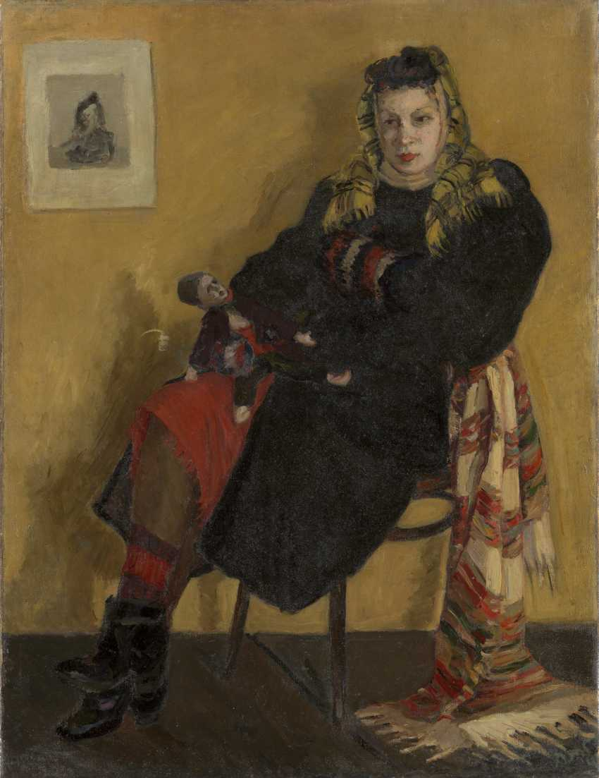 DERBENEVA, LIUDMILA (1914-2007) Woman with a Doll , signed and dated 1942, also further signed, titled in Cyrillic and dated on the reverse. - photo 1
