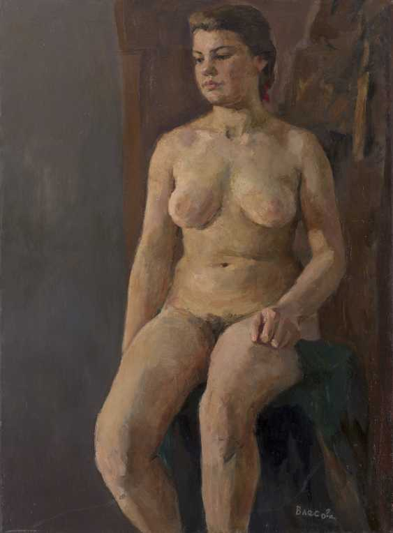 VLASOVA, KLARA (B. 1926) Seated Nude , signed, also further signed, titled in Cyrillic and dated 1948 on the reverse. - photo 1