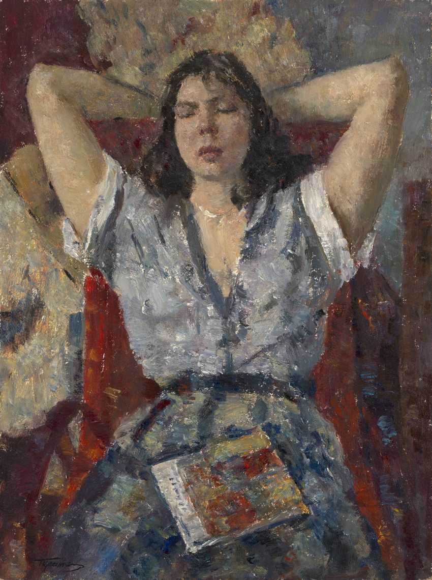 TSEITLIN, GRIGORY (1911-2000) Portrait of the Artists Wife , signed, also further signed, titled in Cyrillic and dated 1988 on the reverse. - photo 1