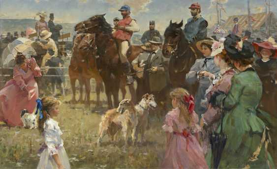 LEVENTSEV, NIKOLAI (1930-2008) At the Races , signed, also further signed and titled in Cyrillic on the reverse. - photo 1