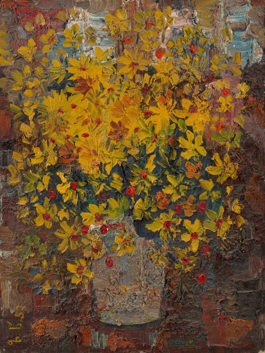 TSERETELI, ZURAB (B. 1934) Still Life with Yellow Flowers , signed with initials and dated 1987, also further signed twice on the reverse. - photo 1