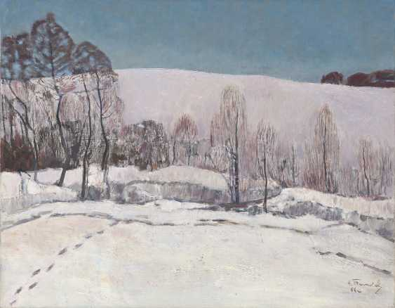 TIMKOV, NIKOLAI (1912-1993) Winter Landscape , signed and dated 1966, also further signed, titled in Cyrillic and dated on the reverse, also further signed, titled and dated on the stretcher. - photo 1