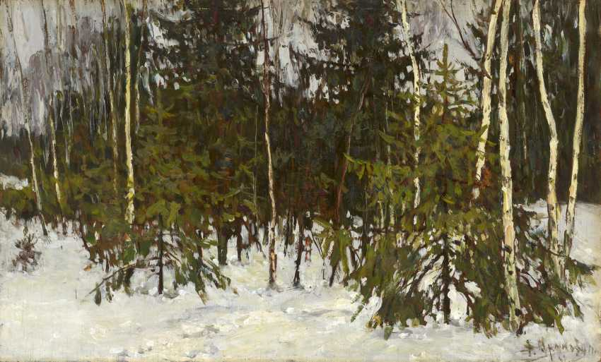 "ARALOV, VLADIMIR (1893-1972) Winter , signed and titled in Cyrillic, also further signed, titled, numbered ""594"" and dated 1957 twice on the reverse. - photo 1"