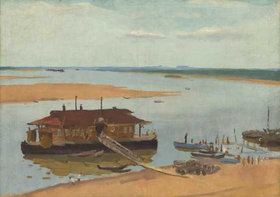VEDERNIKOV, ALEXANDER (1898-1975) River Landing Stage , signed, titled in Cyrillic and dated 1946 on the reverse. - photo 1