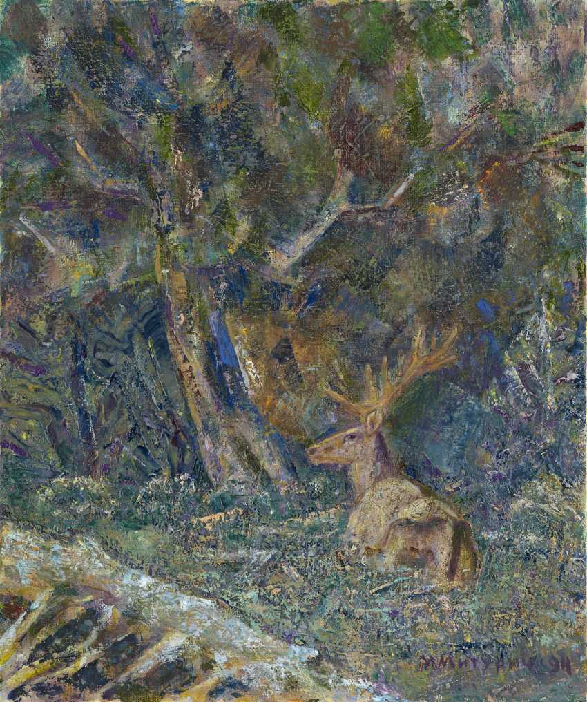 """MITURICH-KHLEBNIKOV, MAI (1925-2008) Landscape with a Deer , signed and dated 1994, also further signed twice, inscribed """"Moscow"""", titled in Cyrillic and dated on the reverse. - photo 1"""