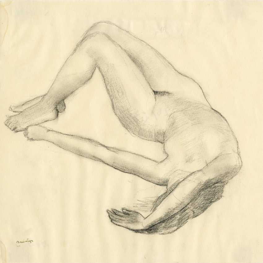 """WEISBERG, VLADIMIR (1924-1985) Reclining Nude , signed, further dated """"26/XI 80 g"""" on the reverse. - photo 1"""