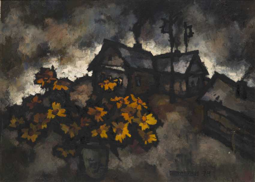 """RABIN, OSCAR (B. 1928) Yellow Leaves , signed with a monogram and dated 1974, also further titled in Cyrillic, numbered """"N 576"""" and dated on the reverse. - photo 1"""