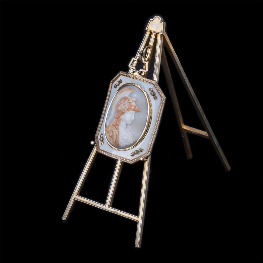 Rare unusual medallion cameo with the image of Athena polias on the stand in the easel - photo 1
