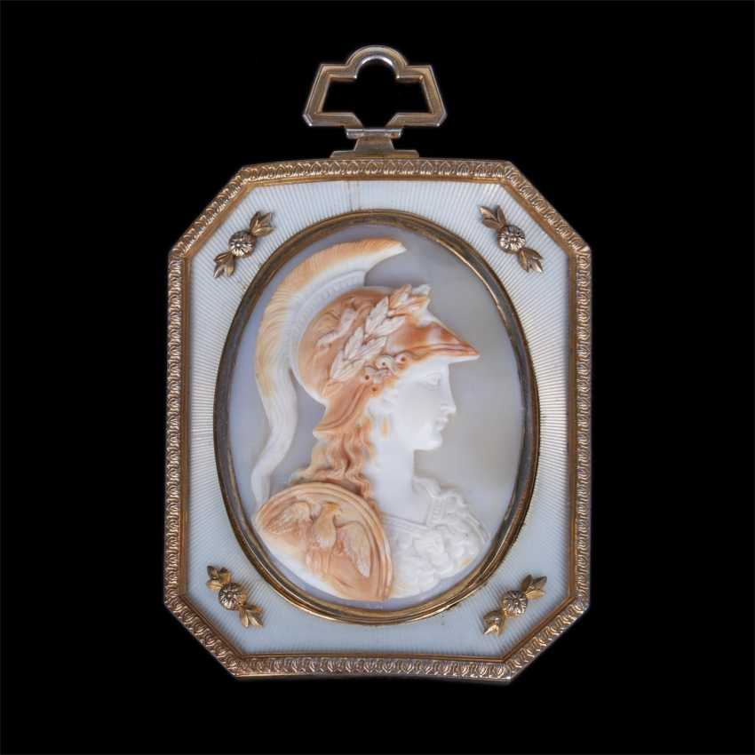Rare unusual medallion cameo with the image of Athena polias on the stand in the easel - photo 2