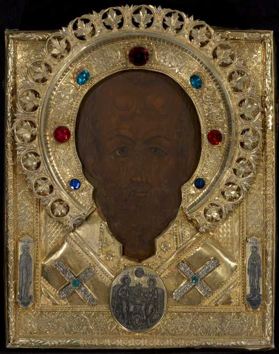 St Nicholas in a Silver-Gilt Oklad with Plaques    - photo 1