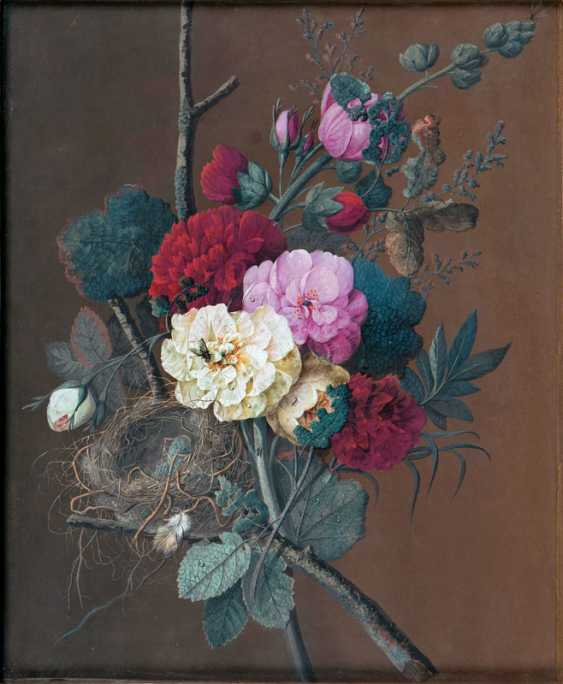 """Jan Frans van Dael """"Bouquet with flowers, bird's nest and insects"""" - photo 1"""